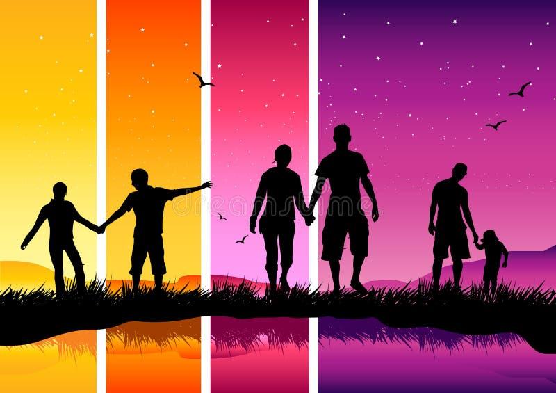 Familia y amigos ilustración del vector