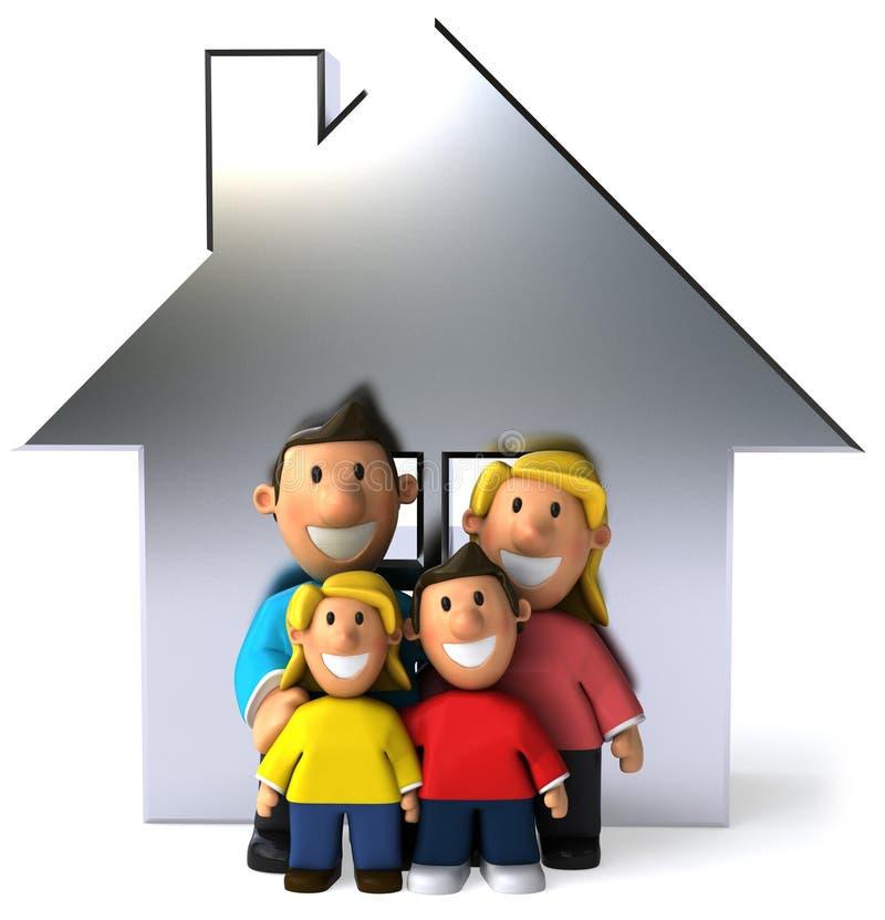 Familia y casa ilustración del vector