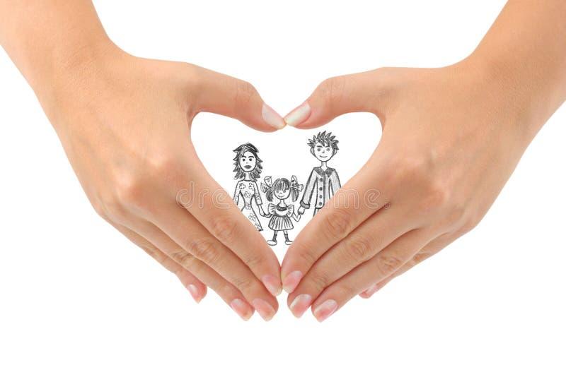 Familia y corazón hechos de manos fotografía de archivo libre de regalías