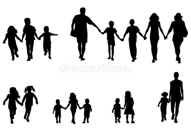 Familia y niños que llevan a cabo la colección de las siluetas de las manos stock de ilustración