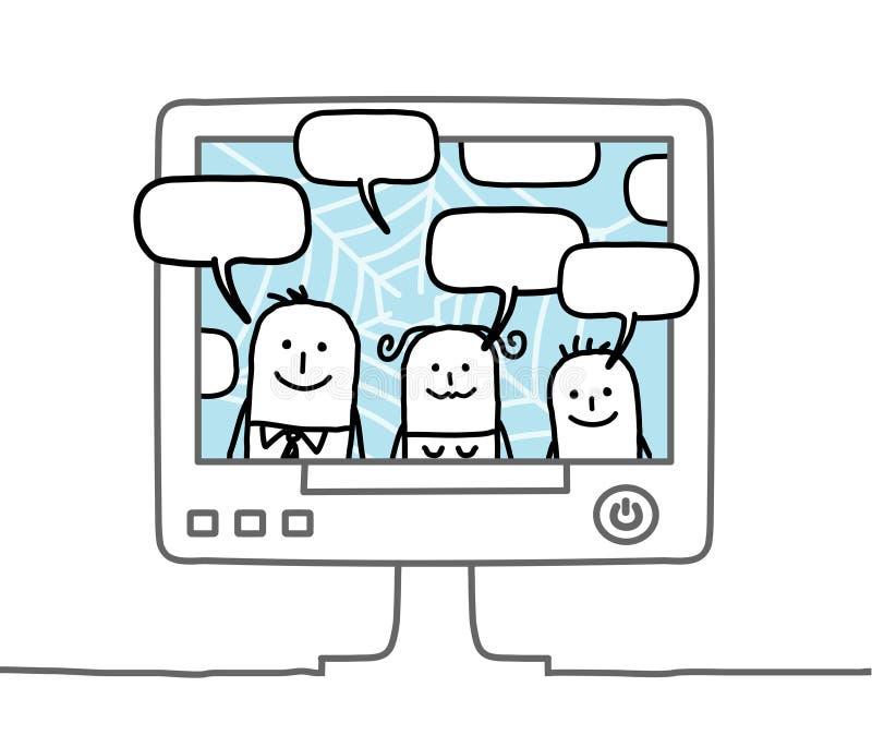 Familia y red social stock de ilustración