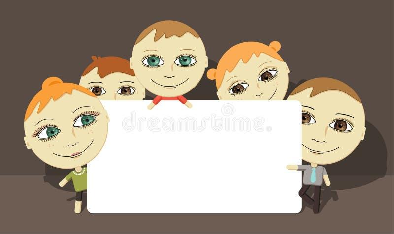 Familia y tarjeta grandes de los ojos ilustración del vector
