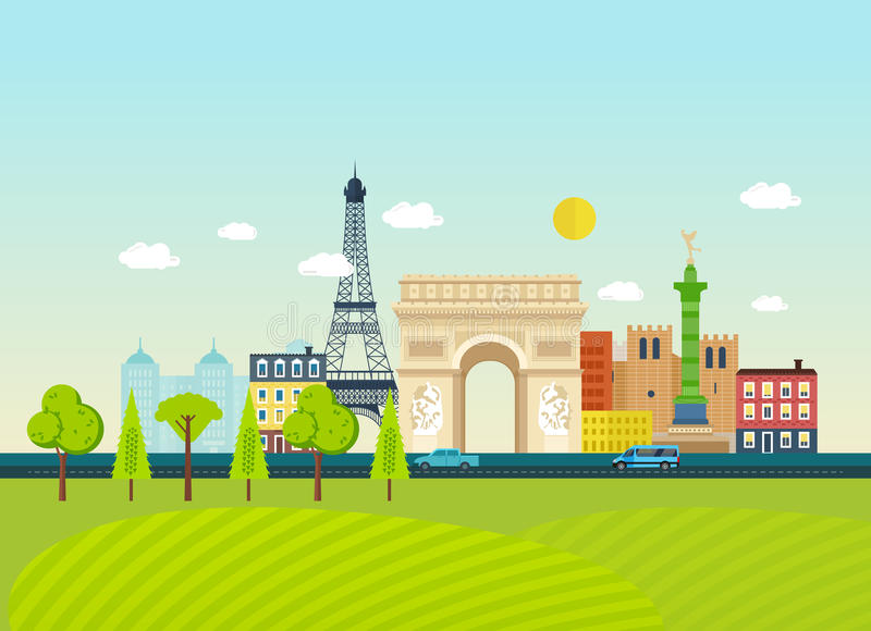 Familiarity with traditions, culture, architecture, sights, atmosphere of the city. Travel to France concept. Familiarity with the traditions, culture vector illustration