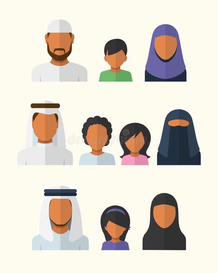 Familias árabes ilustración del vector
