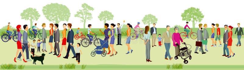 Familias al aire libre en parque ilustración del vector
