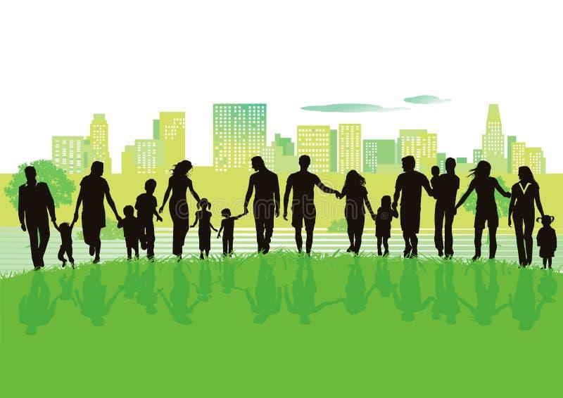 Familias alegres en parque de la ciudad ilustración del vector