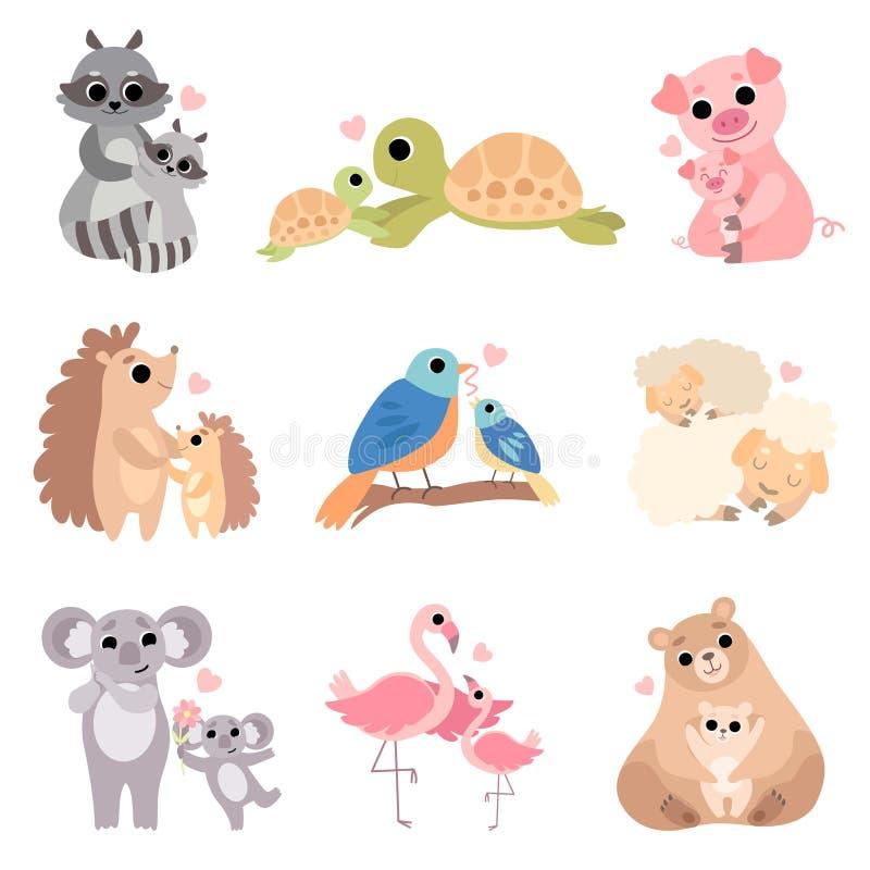 Familias animales lindas sistema, mapache, tortuga, cerdo, erizo, pájaro, oveja, koala, flamenco, ejemplo del vector del oso libre illustration