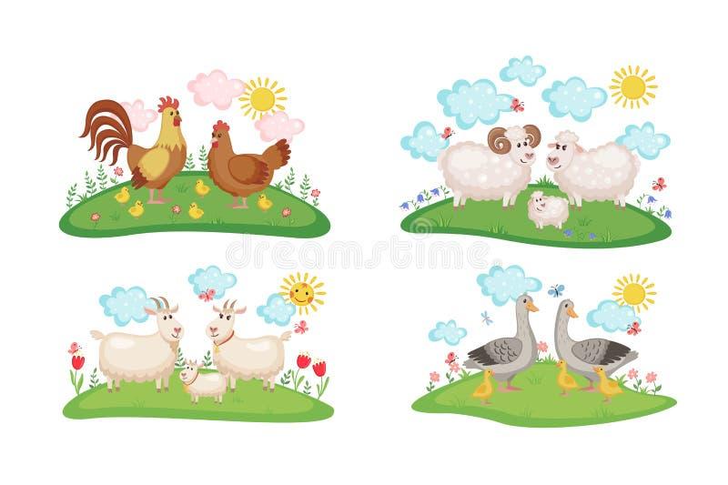 Familias de los animales del campo fijadas ilustración del vector