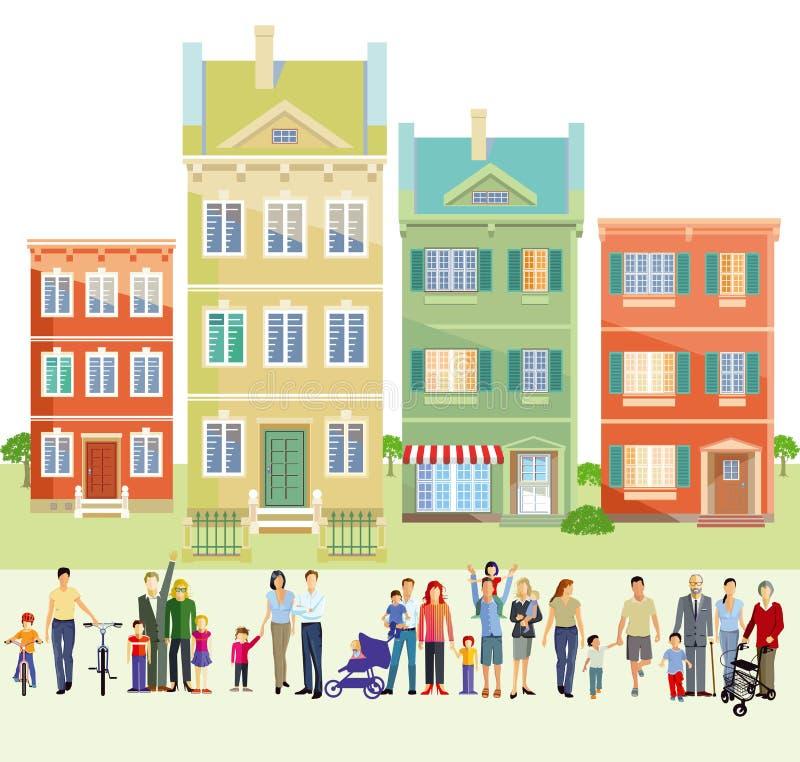 Familias delante de casas libre illustration