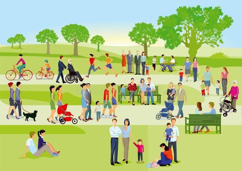 Familias en el ejemplo del parque libre illustration