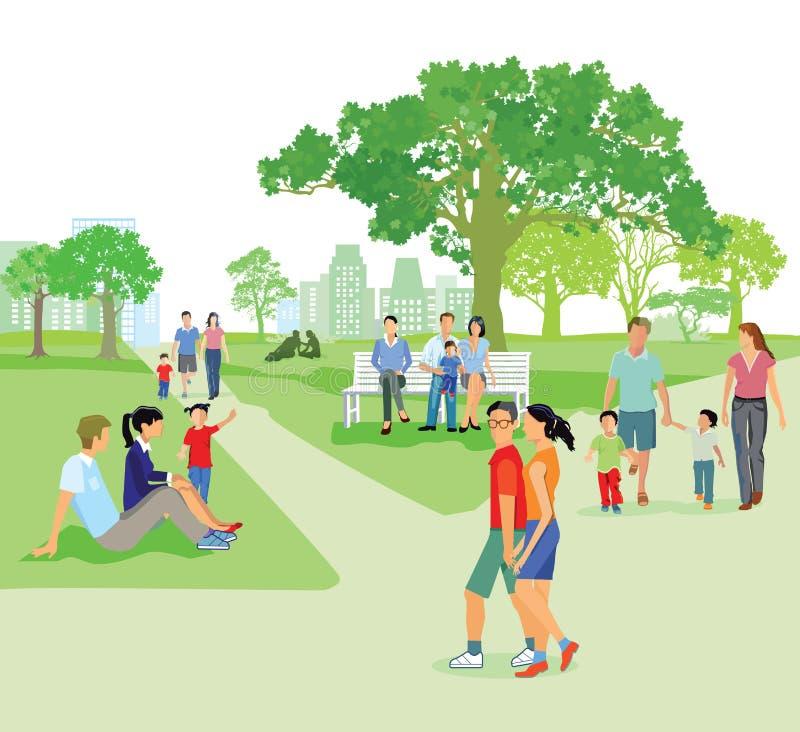 Familias en el parque en verano stock de ilustración