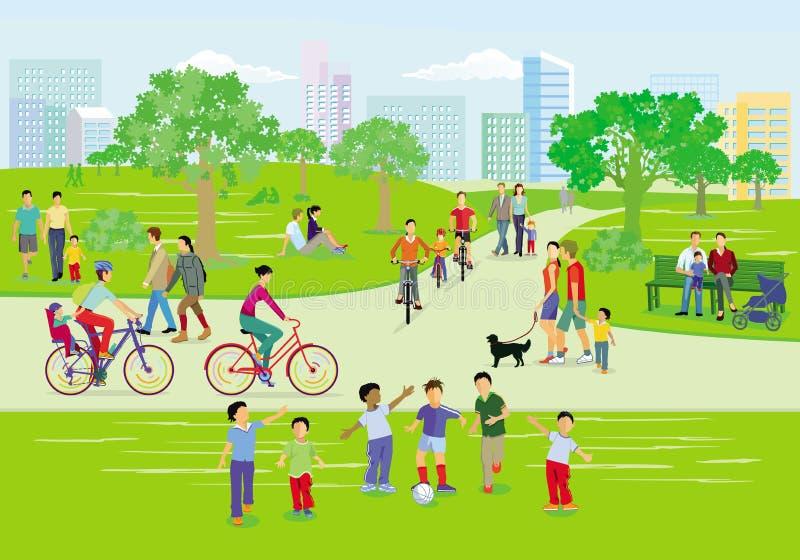 Familias en el pasatiempo en el parque, libre illustration