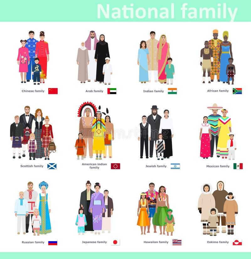Familias en el traje nacional, ejemplo del vector libre illustration