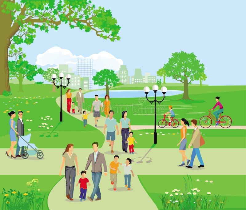 Familias en la actividad libre del ocio, ejemplo stock de ilustración