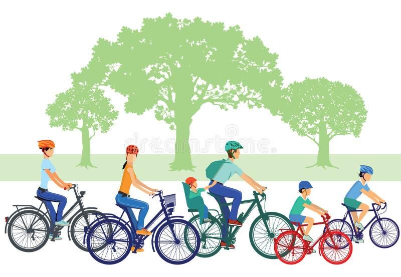 Familias en las bicis ilustración del vector
