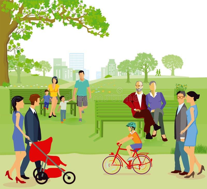 Familias en parque de la ciudad ilustración del vector