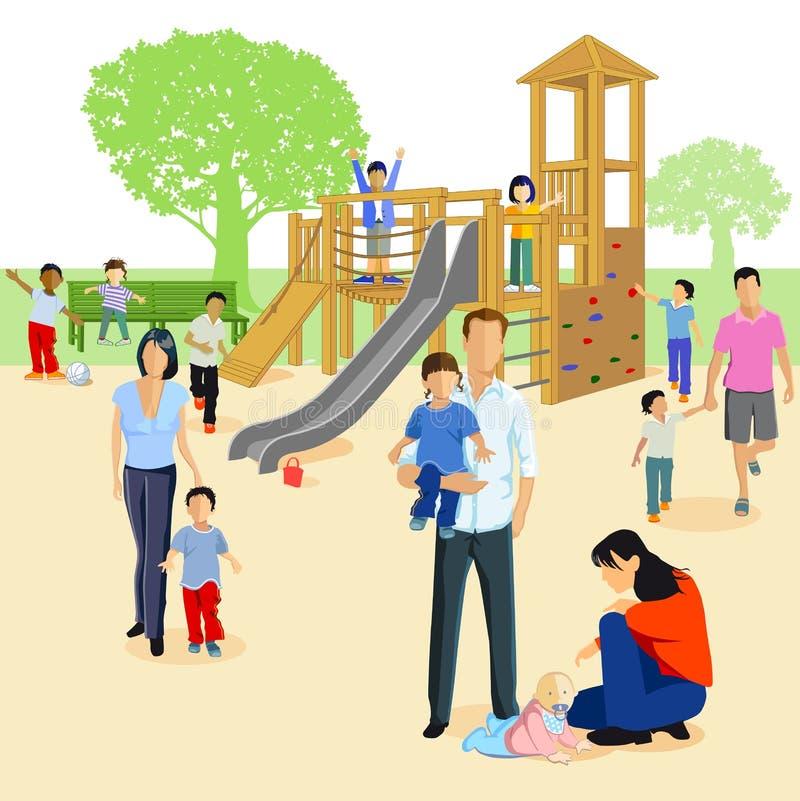 Familias en un patio ilustración del vector