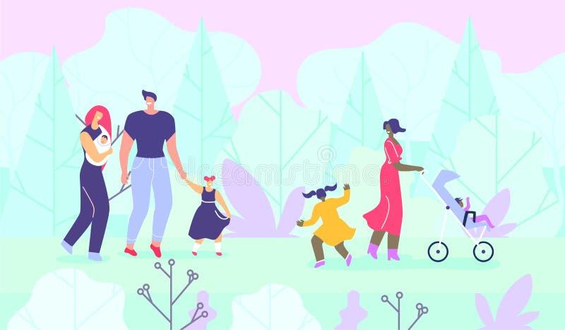 Familias felices con los niños que caminan en bosque stock de ilustración