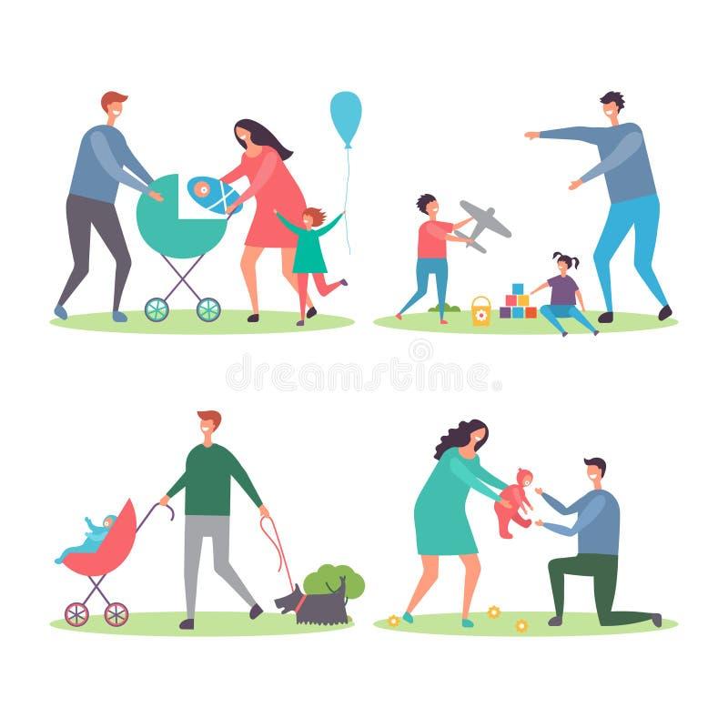Familias felices con los niños y los perros Madres y padres que caminan y que juegan con los niños en el vector del parque de la  ilustración del vector
