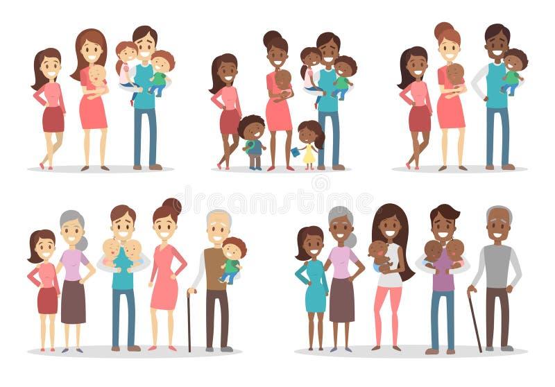 Familias felices fijadas ilustración del vector