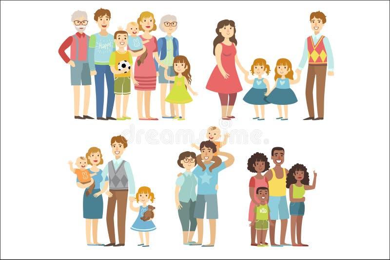 Familias felices que plantean ejemplos coloridos juntos simplificados del vector plano del estilo de la historieta en el fondo bl stock de ilustración