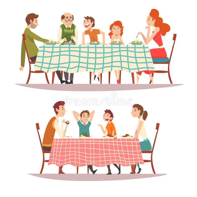 Familias felices que se sientan en la tabla de cocina con el sistema a cuadros del mantel, comiendo la comida y hablando el uno a libre illustration