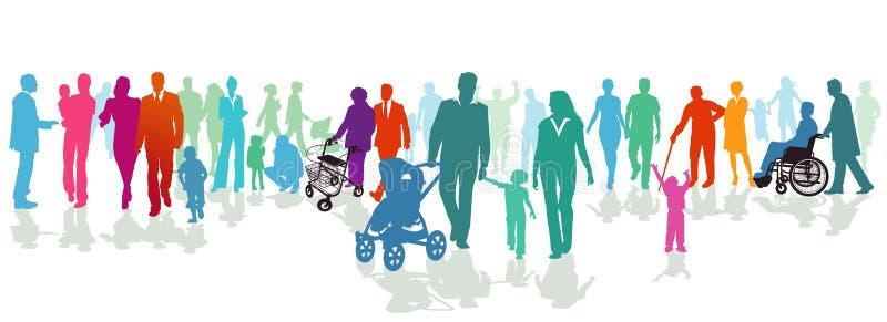 Familias ilustradas en silueta colorida stock de ilustración