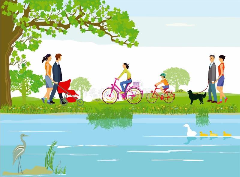 Familias a lo largo de un lago ilustración del vector