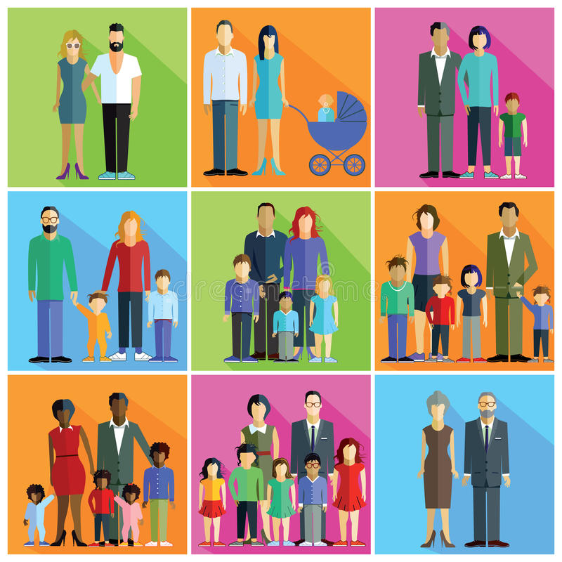 Familias, padres y pares libre illustration