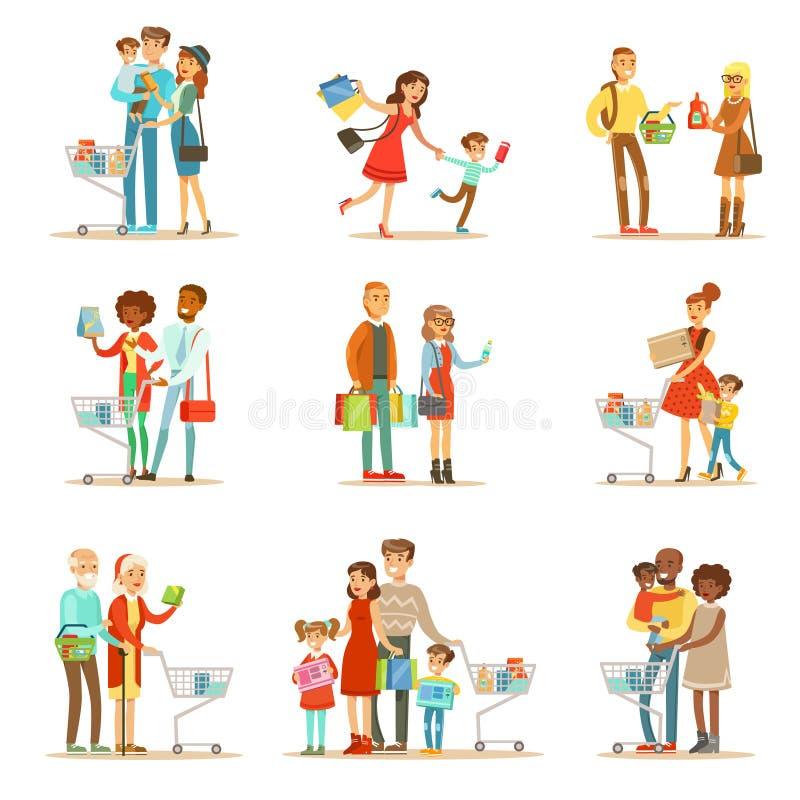 Familias que hacen compras en grandes almacenes y sistema de la alameda de compras libre illustration