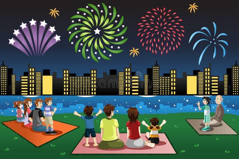 Familias que miran los fuegos artificiales en un parque libre illustration