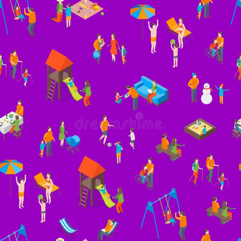 Familias que pasan la opini?n isom?trica del fondo incons?til del modelo del tiempo libre 3d Vector libre illustration