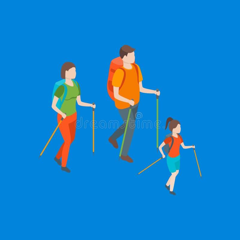 Familias que pasan la opini?n isom?trica libre del tiempo 3d Vector ilustración del vector