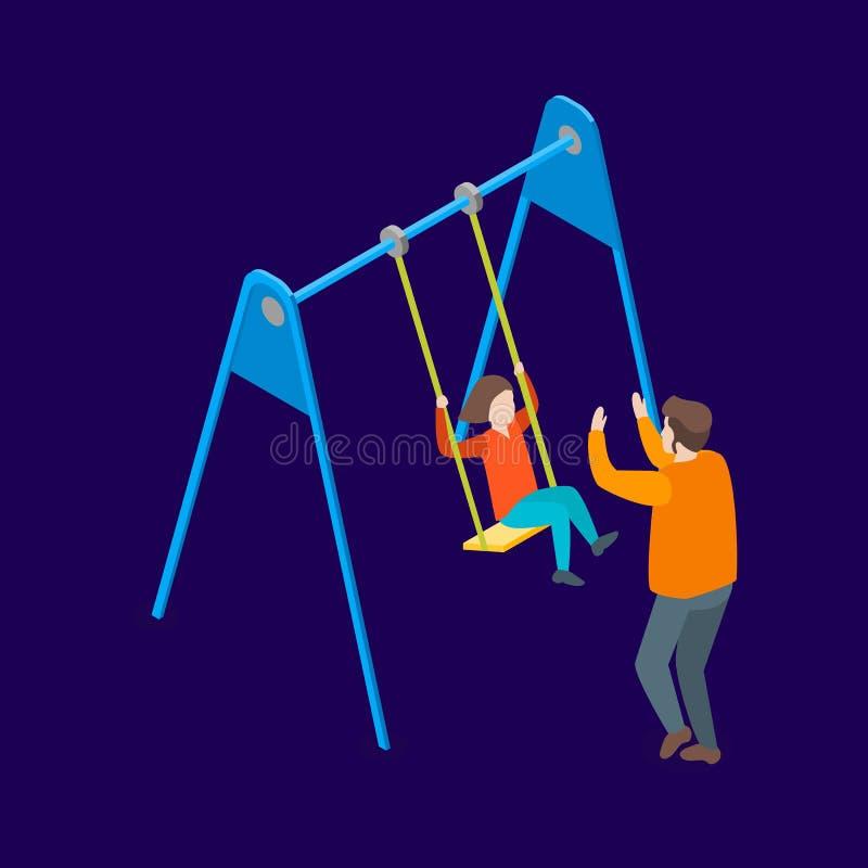 Familias que pasan la opini?n isom?trica libre del tiempo 3d Vector stock de ilustración