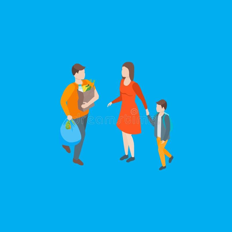 Familias que pasan la opini?n isom?trica libre del tiempo 3d Vector libre illustration