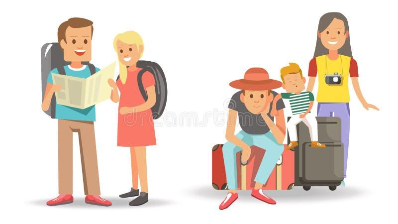 Familias que viajan con los niños listos para ir libre illustration