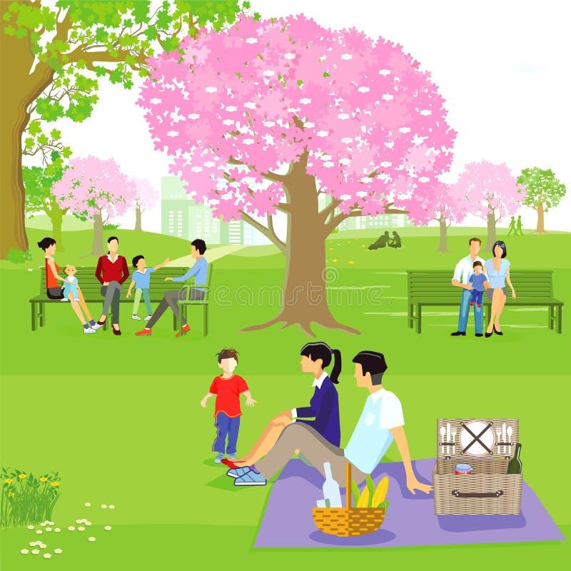 Familias sentadas en parque de la primavera stock de ilustración