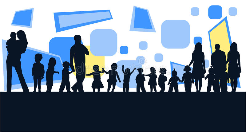 Familias y extracto ilustración del vector