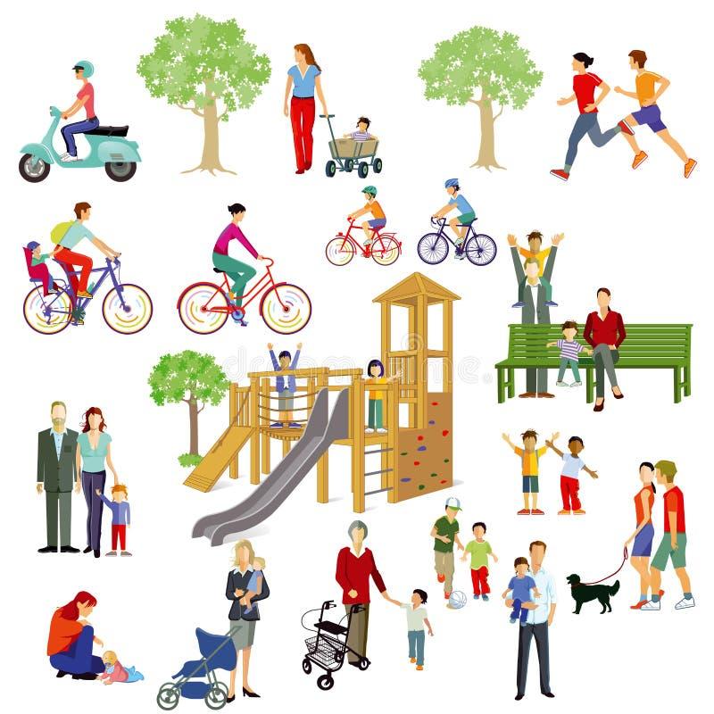 Familias y gente que juegan en parque ilustración del vector