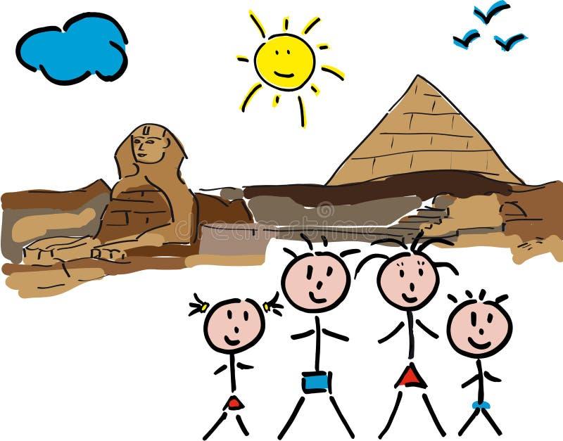 Familie Ägypten Sfinge lizenzfreie stockfotos