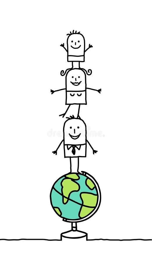 Familie & wereld stock illustratie