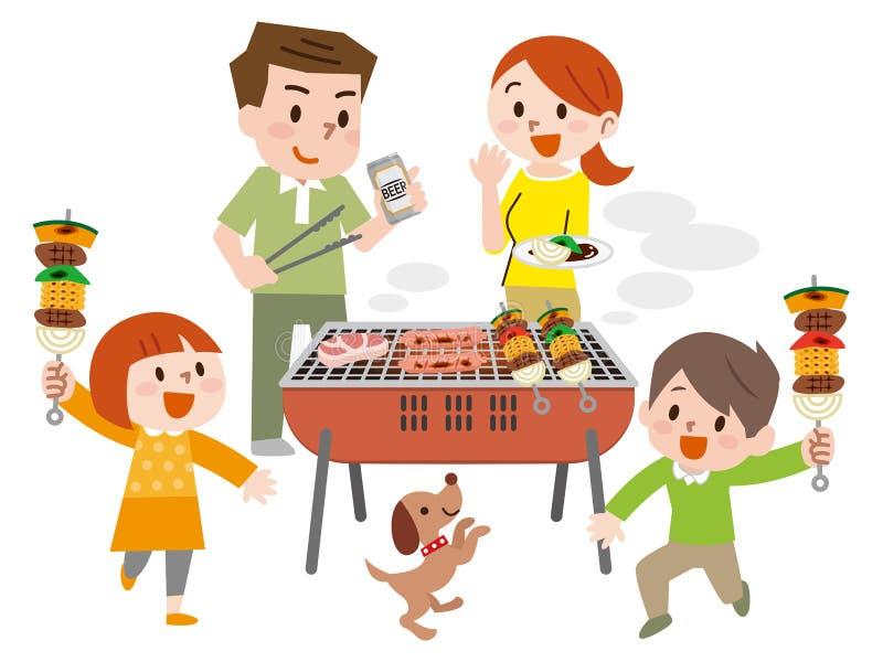 Familie auf den Ferien Grill habend vektor abbildung