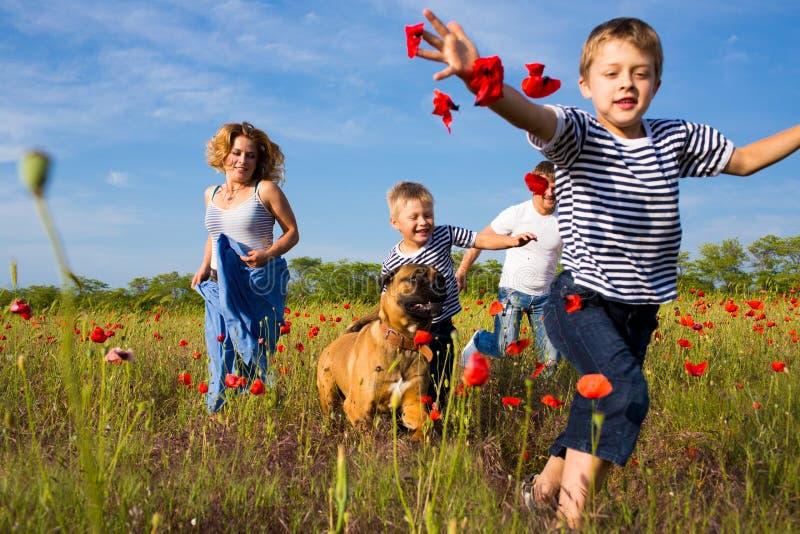 Familie auf der Mohnblumenwiese lizenzfreies stockbild