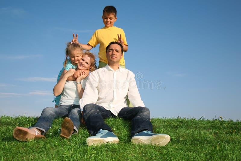 Familie auf einem Gras lizenzfreies stockbild