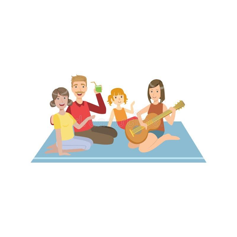 Familie auf Picknick mit Gitarre lizenzfreie abbildung