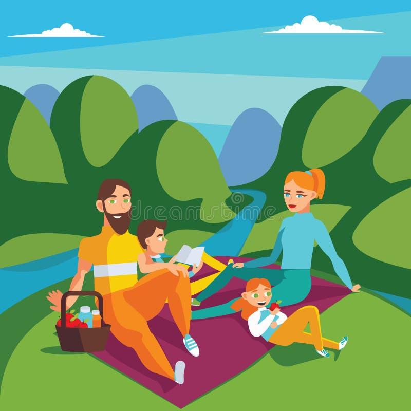 Familie auf Picknick Sommerszene mit den Hügeln und Fluss, Mutter, Vati, Sohnlesung und Tochter, die Apfel essen Quadratische Ill stock abbildung