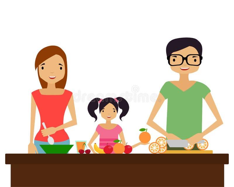 Familie bereitet Nahrung zu vektor abbildung