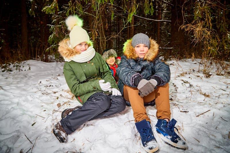 Familie bestaand mamma, jongen en meisje in sneeuwbos in een de winterdag Tieners en moeder die picknick hebben openlucht stock afbeelding