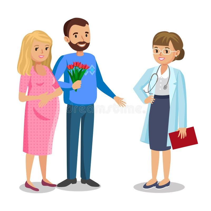 Familie bezoekende arts in kliniek, verwachtende ouders, zwangerschap royalty-vrije illustratie
