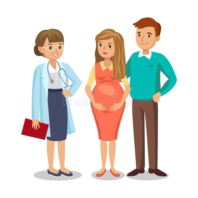 Familie bezoekende arts in kliniek, verwachtende ouders, zwangerschap vector illustratie